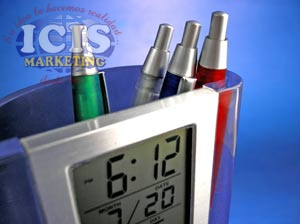 Reloj Portalápiz Transparente