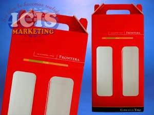 Caja de carton para 2 botellas de vino impresaTodo Color .