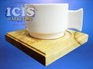 Set 4 Tazas con posa taza de Café Wood