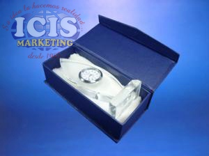 Galvano de cristal con Reloj
