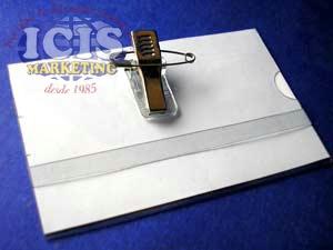 Portacredencial Plástico para Solapa ( 9 x 5,5 cms )