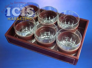 Bandeja de Cuero o Cuerina para 6 Vasos de Whisky