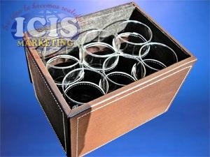 Caja de Cuerina   para 6 Vasos.