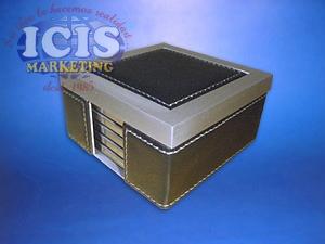 Posavasos Metálicos en Caja  de Metal y Eco Cuero