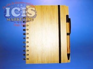 Cuaderno con tapa madera de bambú