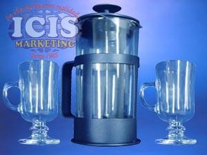 Set de Cafetera vidrio Sujeción plástico (Fancesa) más 4Taza para café con base (cappuccino)