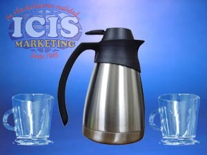 Set Jarra termo liquido acero inox. y 4 Taza para café vidrio con pie