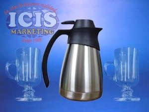 Set Jarra termo liquido acero inox. y 4  Taza para café con base (cappuccino)