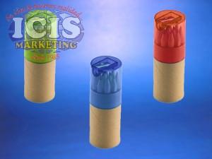 Tubo Ecologico Con 12 Lapices de colores y Sacapuntas,