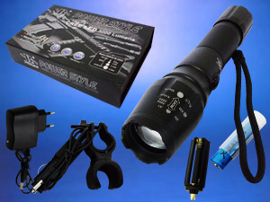 Linterna metálica led 5000 lumens táctica-emergencia recarga-ble
